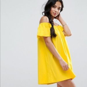 ASOS Yellow off the Shoulder Dress